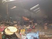 Vietnamese market in Laos on fire
