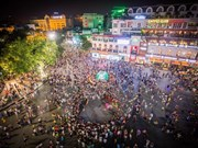 Pedestrian zone attracts sea of people