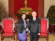 Party chief receives Lao counterpart's congratulations on re-election