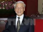 Palestine President congratulates Party chief Nguyen Phu Trong