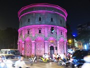 Netherlands lights up water tower in Hanoi