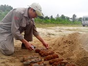 Quang Tri: 21 projectiles removed from civilian's garden