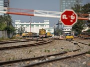 Cambodian railroad connected with Thailand at border gate