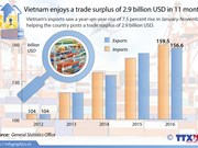 Vietnam enjoys 2.9 billion USD in 11 months' trade surplus