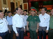 President meets armed forces voters in HCM City