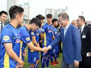 RoK President Moon meets young Vietnamese footballers