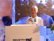 Robot citizen Sophia speaks at Industry 4.0 Summit & Exhibition
