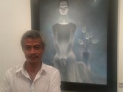 Painter inspired by Vietnamese women wearing ao dai