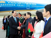 President Tran Dai Quang begins official trip to Belarus