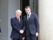 Party leader holds talks with French President Emmanuel Macron