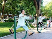 Parks become free gyms in Hanoi