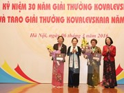 Kovalevskaya awards honour Vietnamese female scientists