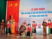 Hung Yen: Trong quan singing named nat'l intangible cultural heritage