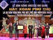 Phu Tho receives UNESCO certificate for Xoan Singing