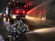 Fire-fighting and rescue rehearsal held at Ca Pass tunnel