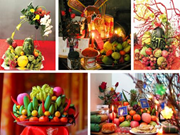 Five-fruit tray at traditional Lunar New Year