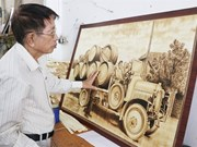 Unique paintings made from sugar palm leaves