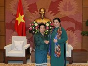 Legislative leader receives Lao NA ethnic committee's delegation
