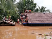 Vietnamese firm tries to take workers out of flooded area in Laos
