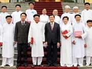 President Sang meets Cao Dai dignitaries