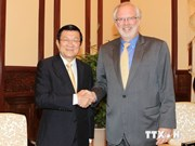 President Sang receives outgoing US Ambassador Shear