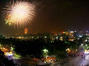 Fireworks over Red River on Lunar New Year's Eve