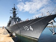 Japanese naval vessels anchor in Vietnam