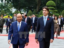 Ceremony held to welcome Canadian PM Justin Trudeau