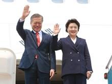 RoK President Moon Jae-in arrives in Hanoi for State visit to Vietnam