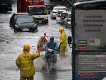 Incessant rains leave Hanoi streets under water