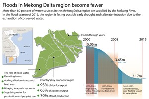Floods in Mekong Delta region become fewer