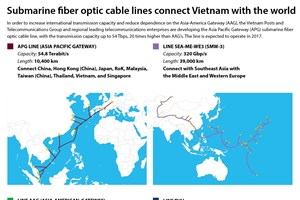 Submarine fiber optic cable lines connect Vietnam with the world