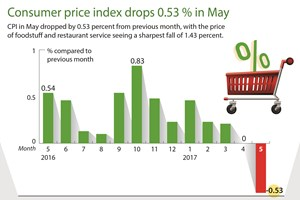 Consumer price index drops 0.53 percent in May