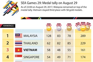 SEA Games 29: Medal tally on August 29