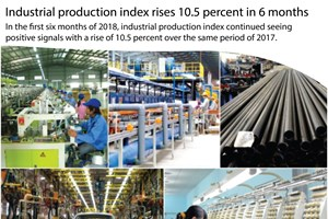 Industrial production index expands 10.5 percent in six months