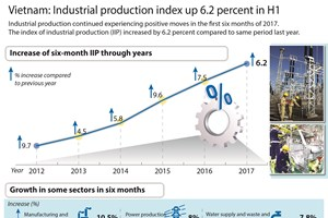 Vietnam: Industrial production index up 6.2 percent in H1