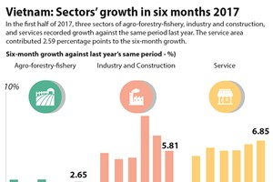 Vietnam: Sectors' growth in six months 2017