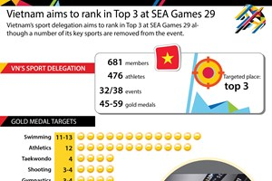 Vietnam aims to rank in Top 3 at SEA Games 29